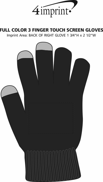 Imprint Area of Full Color 3 Finger Touch Screen Gloves