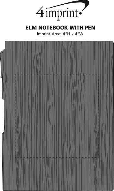 Imprint Area of Elm Notebook with Pen