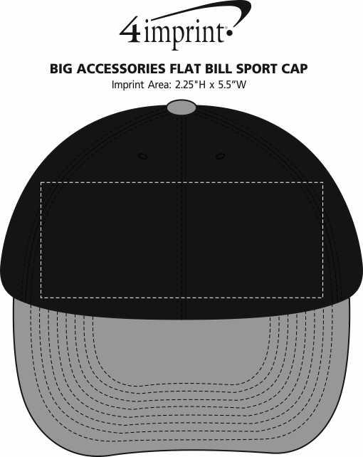 Imprint Area of Big Accessories Flat Bill Sport Cap