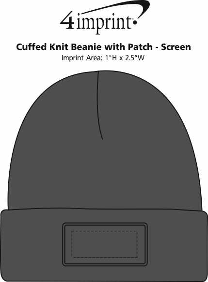 Imprint Area of Cuffed Knit Beanie with Patch - Screen