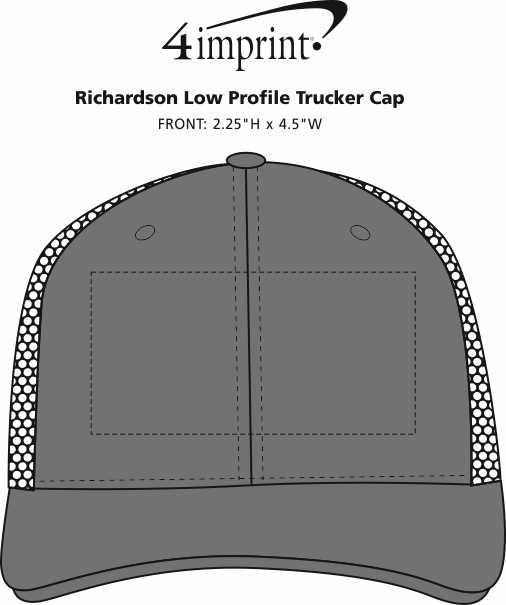 Imprint Area of Richardson Low Profile Trucker Cap