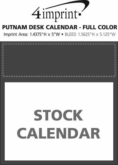 Imprint Area of Putnam Desk Calendar - Full Color