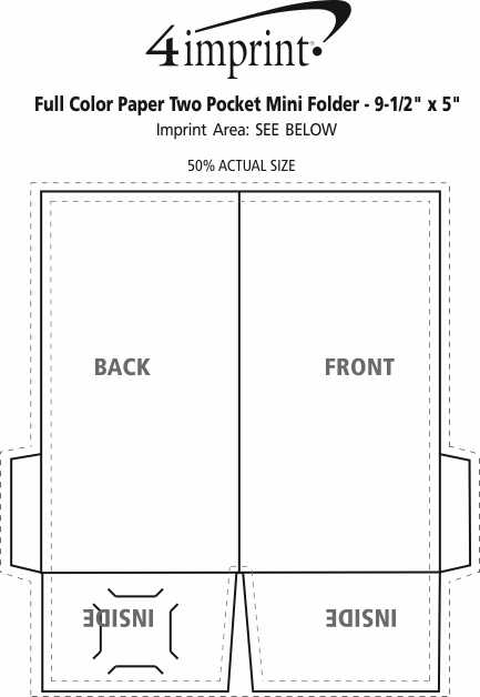 "Imprint Area of Full Color Paper Two-Pocket Mini Folder - 9-1/2"" x 5"""
