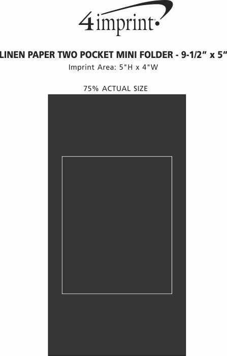 "Imprint Area of Linen Paper Two-Pocket Mini Folder - 9-1/2"" x 5"""