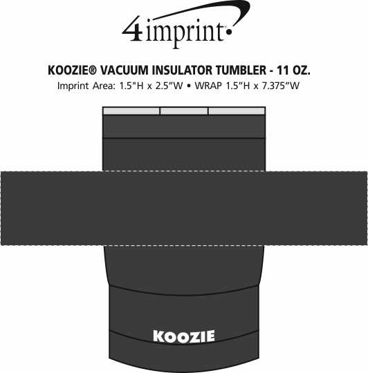 Imprint Area of Koozie® Vacuum Insulator Tumbler - 11 oz.