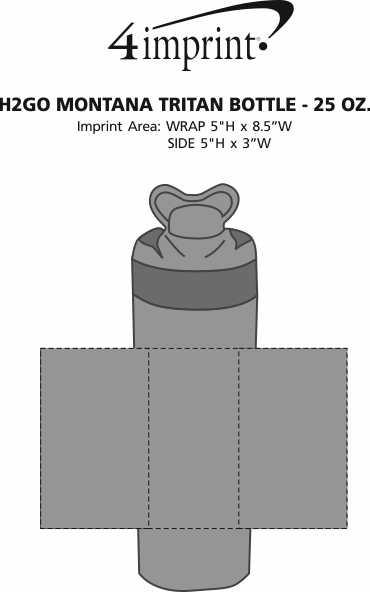 Imprint Area of h2go Montana Tritan Bottle - 25 oz.