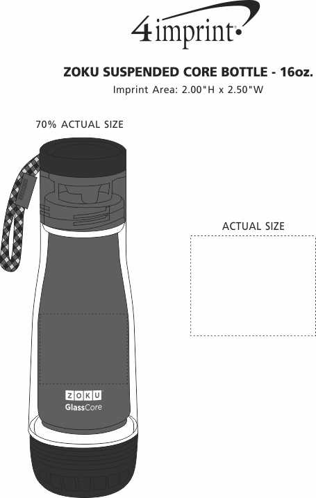 Imprint Area of ZOKU Suspended Core Bottle - 16 oz.