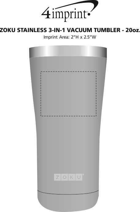 Imprint Area of ZOKU Stainless 3-in-1 Vacuum Tumbler - 20 oz.