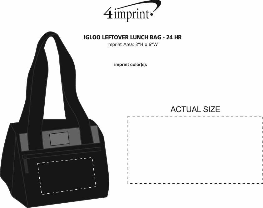 Imprint Area of Igloo Leftover Lunch Bag - 24 hr