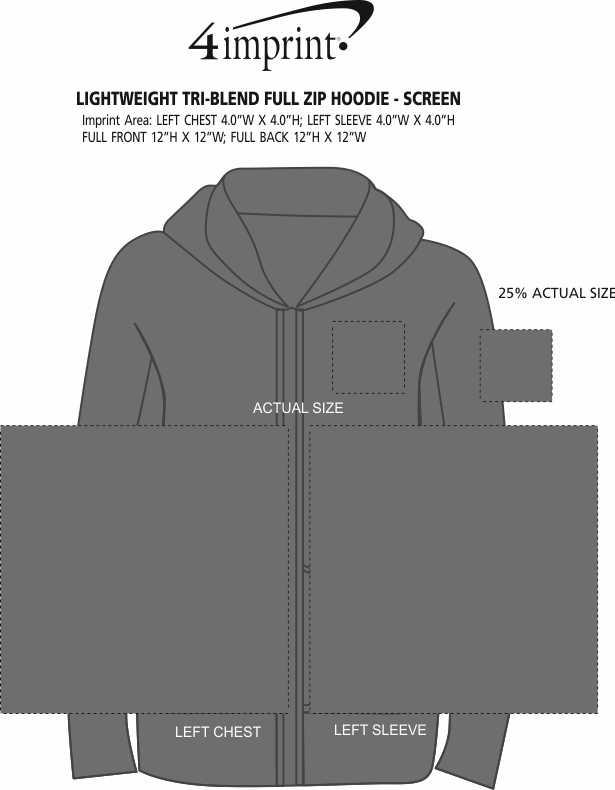 Imprint Area of Lightweight Tri-Blend Full-Zip Hoodie - Screen