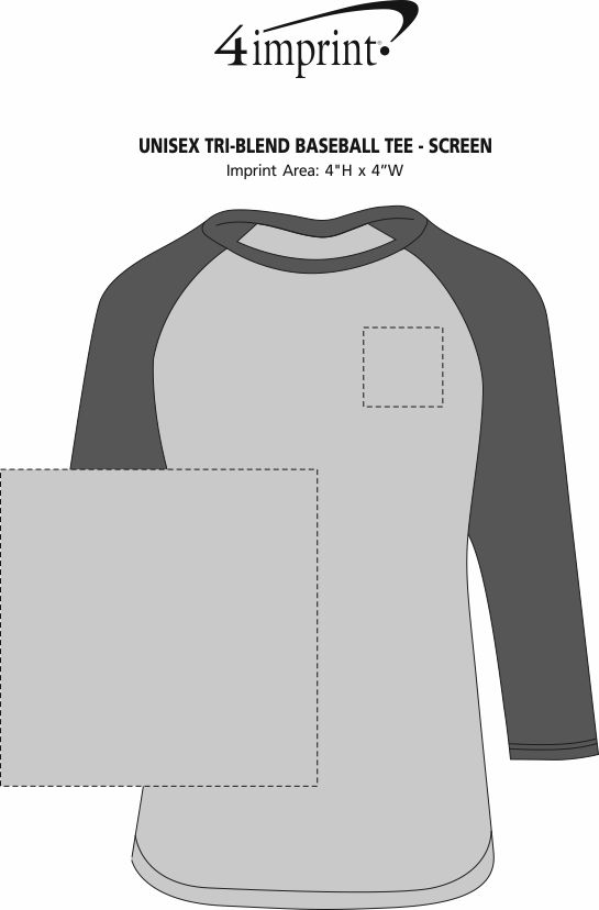 Imprint Area of Unisex Tri-Blend Baseball Tee - Screen