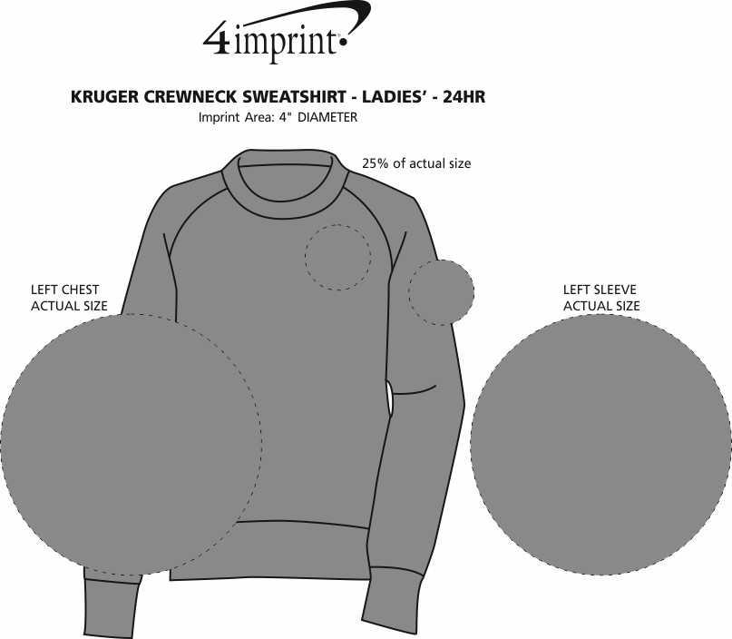 Imprint Area of Kruger Crewneck Sweatshirt - Ladies' - 24 hr