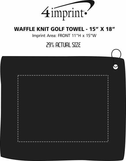 "Imprint Area of Waffle Knit Golf Towel - 15"" x 18"""