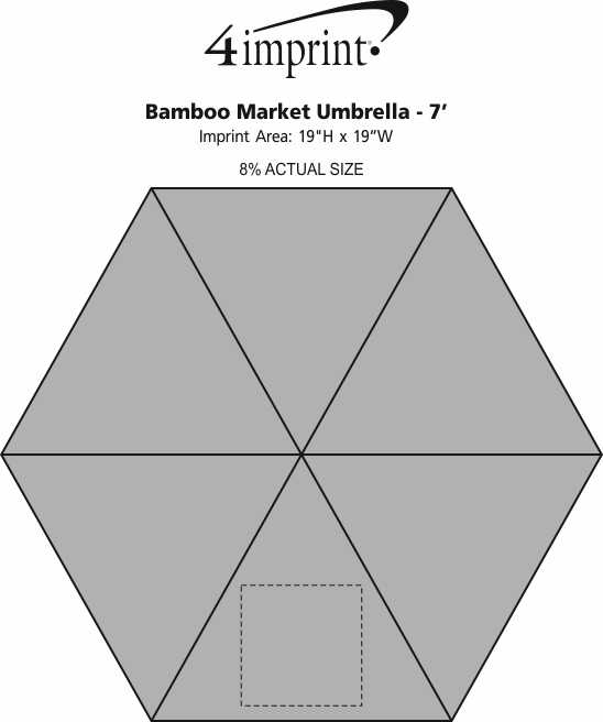 Imprint Area of Bamboo Market Umbrella - 7'