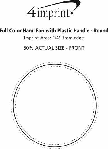 Imprint Area of Full Color Hand Fan with Plastic Handle - Round