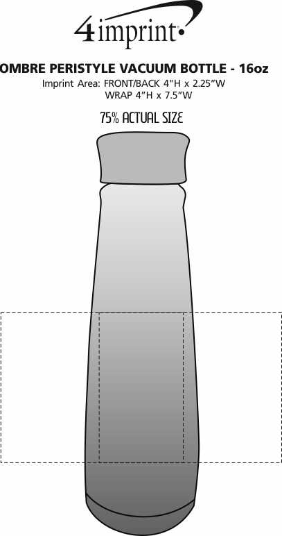 Imprint Area of Peristyle Vacuum Bottle - 16 oz.