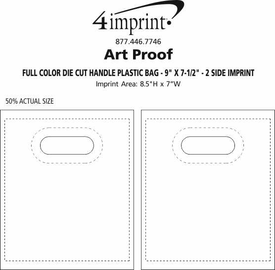 """Imprint Area of Recyclable Full Color Die Cut Handle Plastic Bag - 9"""" x 7-1/2"""" - 2 Side Imprint"""
