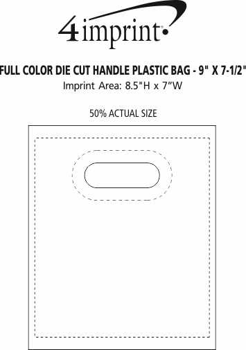 """Imprint Area of Recyclable Full Color Die Cut Handle Plastic Bag - 9"""" x 7-1/2"""""""