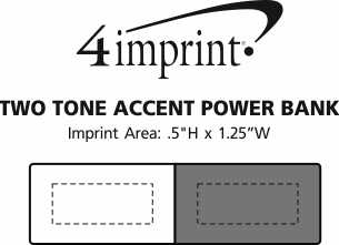 Imprint Area of Two Tone Accent Power Bank - 1500 mAh