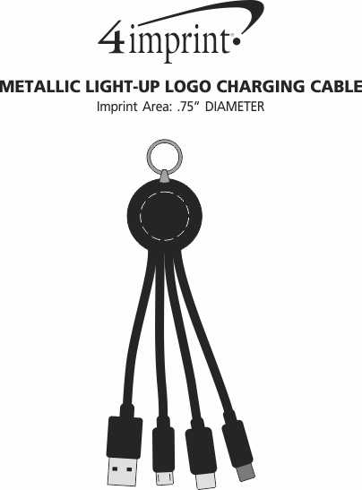 Imprint Area of Metallic Light-Up Logo Charging Cable