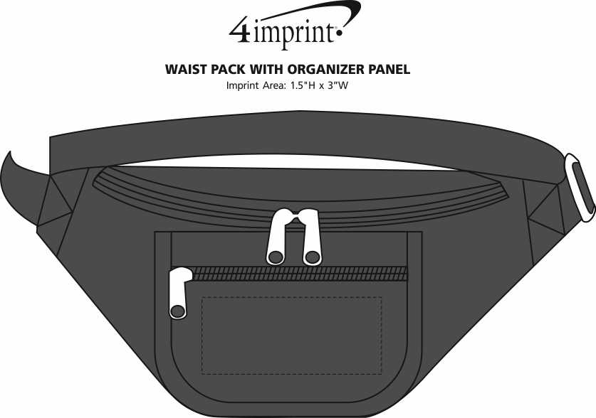 Imprint Area of Waist Pack with Organizer Panel