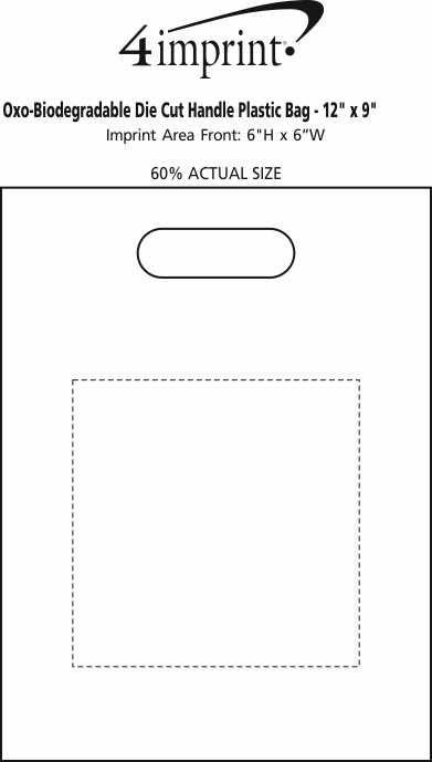 "Imprint Area of Die Cut Handle Plastic Bag - 12"" x 9"""