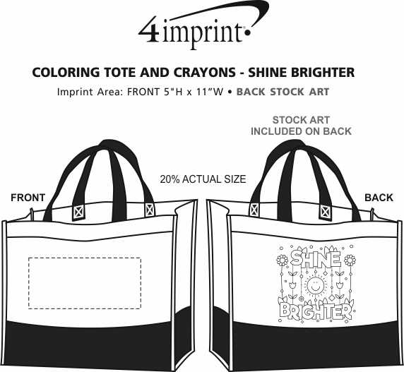 Imprint Area of Coloring Tote and Crayons - Shine Brighter