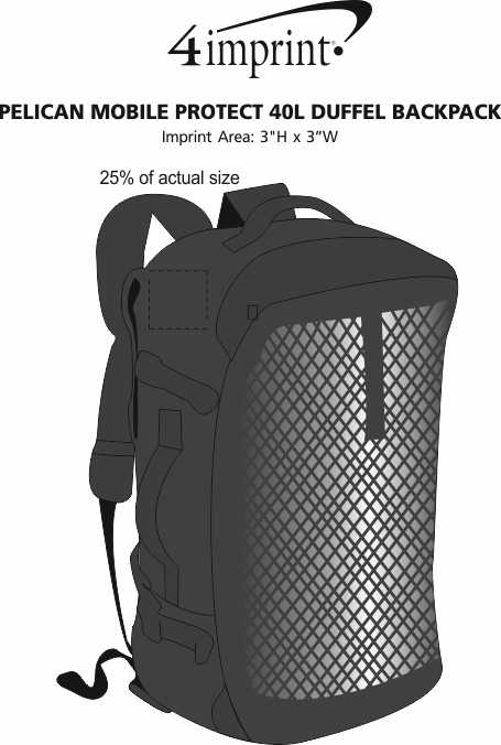 Imprint Area of Pelican Mobile Protect 40L Duffel Backpack