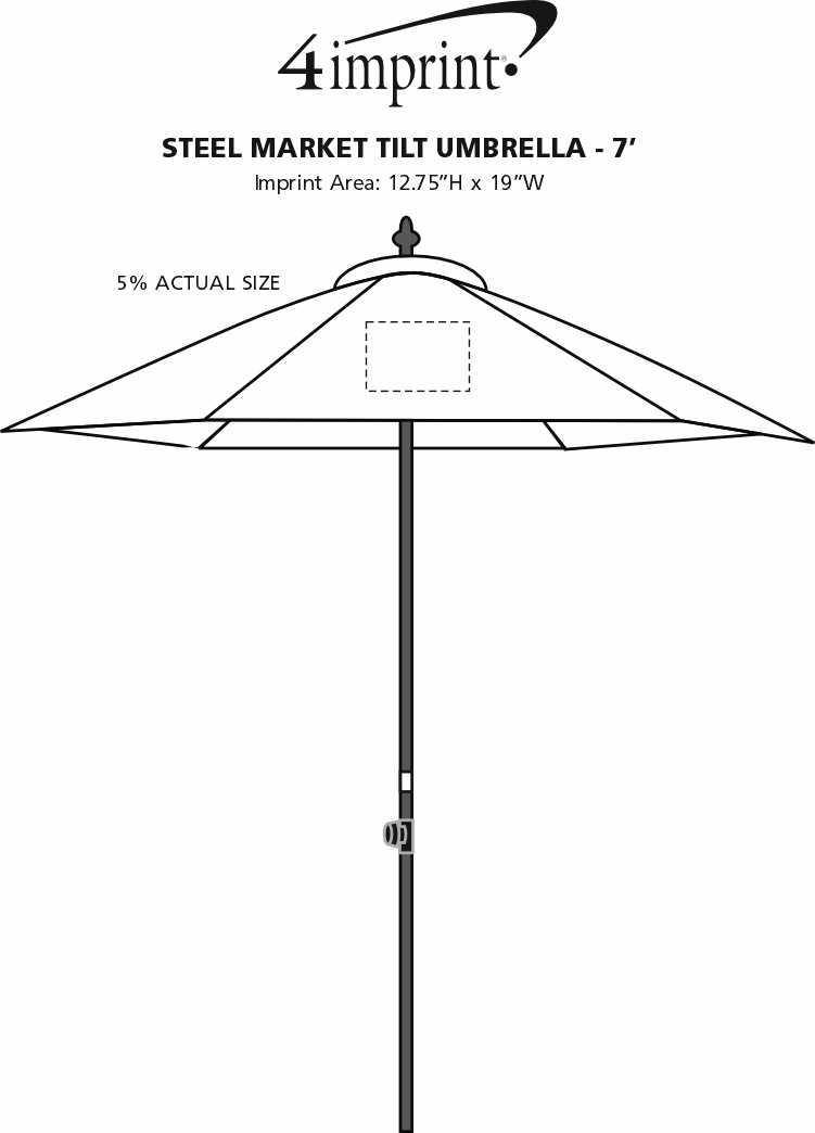 Imprint Area of Steel Market Tilt Umbrella - 7'