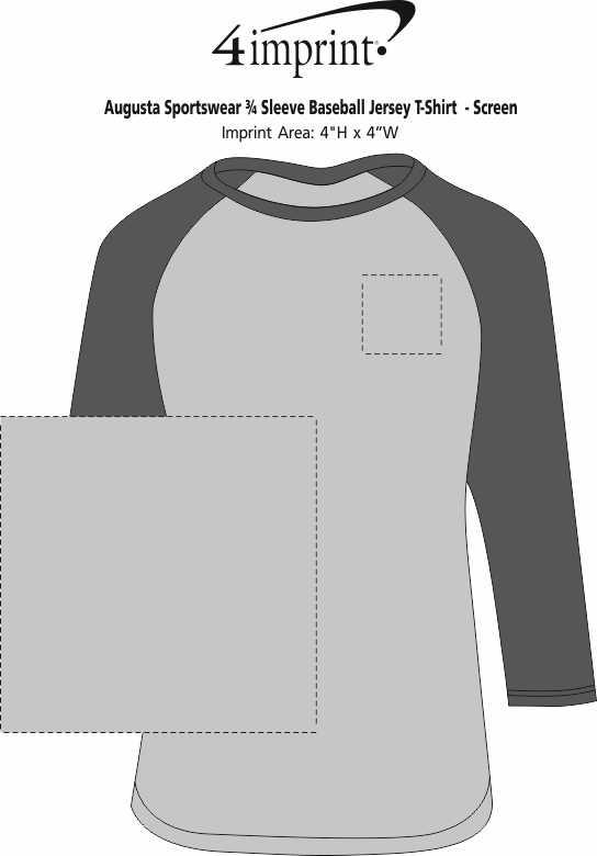 Imprint Area of Augusta 3/4 Sleeve Baseball Jersey - Screen