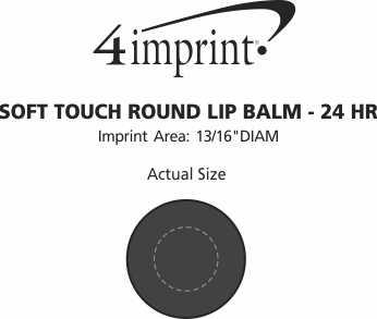 Imprint Area of Soft Touch Round Lip Balm - 24 hr