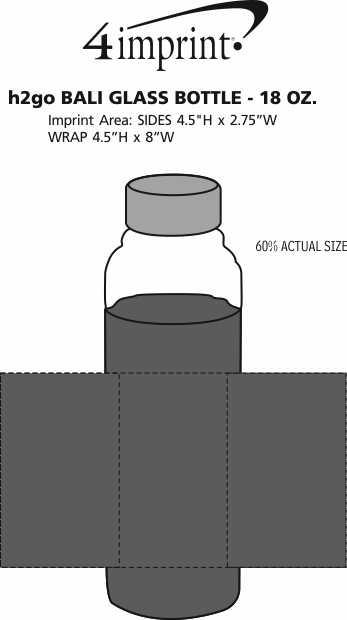 Imprint Area of h2go Bali Glass Bottle - 18 oz.