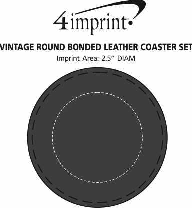 Imprint Area of Vintage Round Bonded Leather Coaster Set