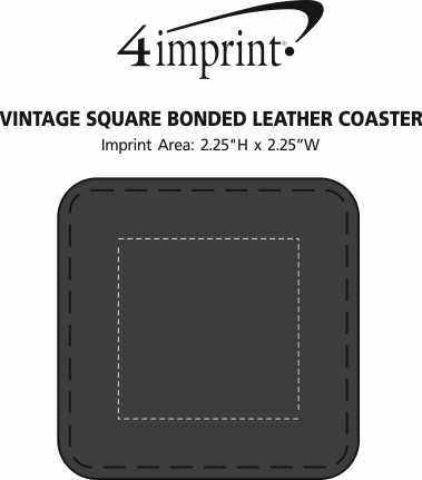 Imprint Area of Vintage Square Bonded Leather Coaster