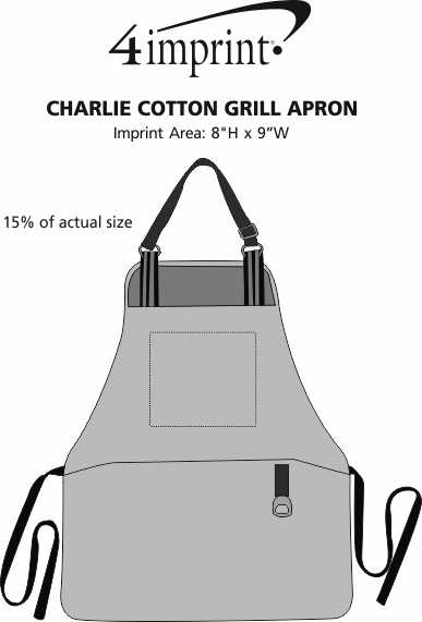 Imprint Area of Charlie Cotton Grill Apron
