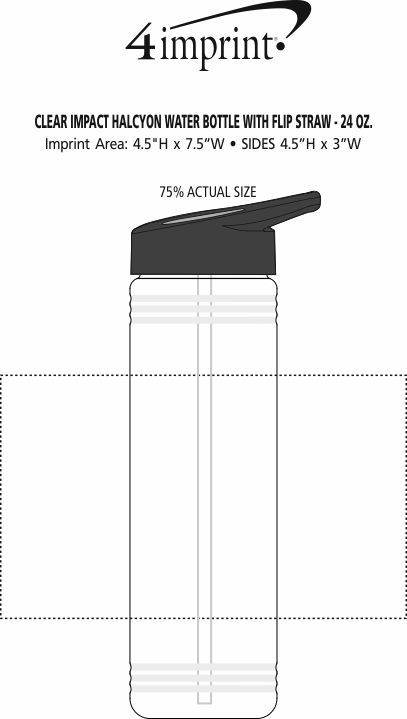 Imprint Area of Clear Impact Halcyon Water Bottle with Flip Straw - 24 oz.