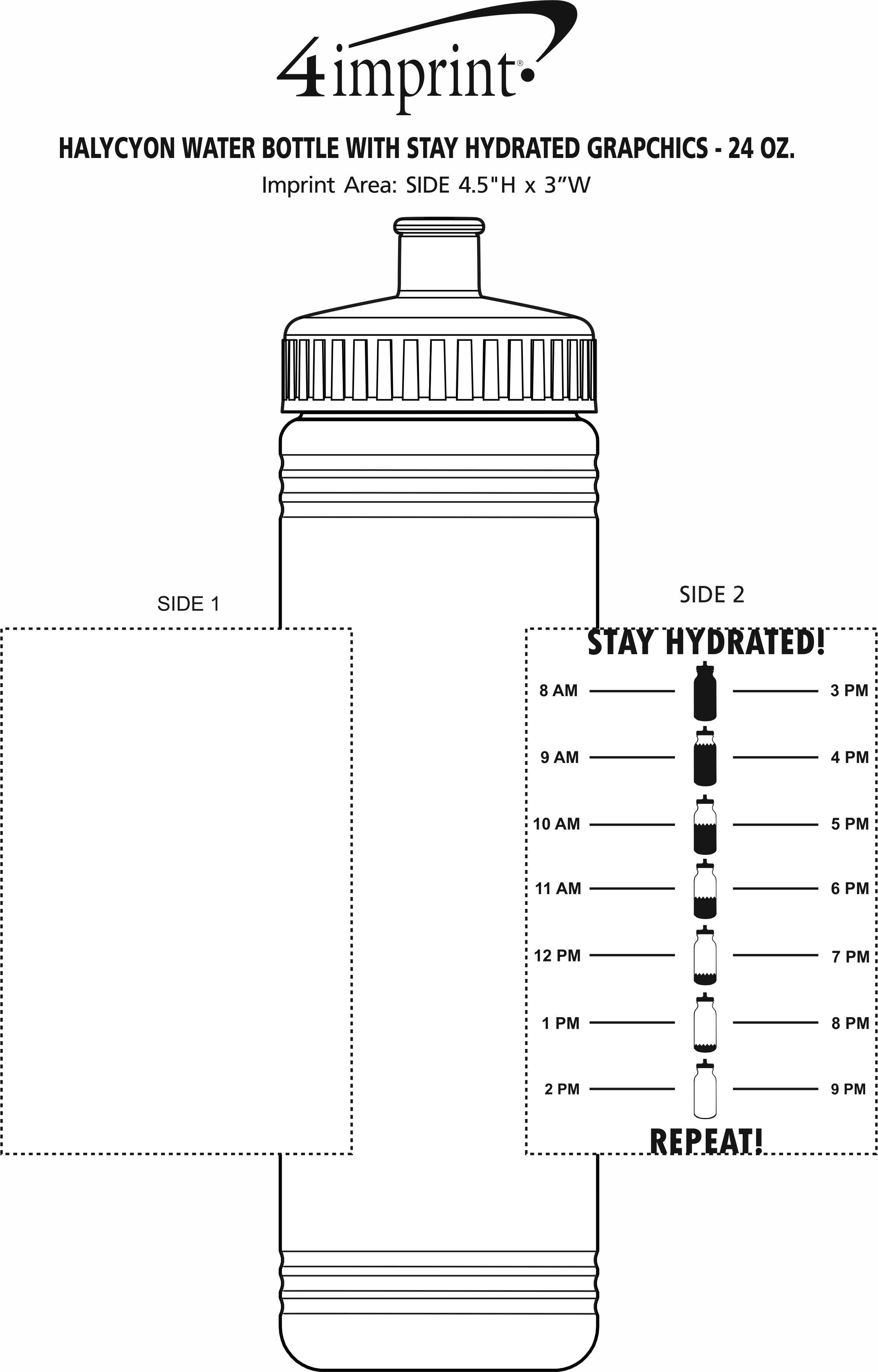Imprint Area of Halycyon Water Bottle with Stay Hydrated Grapchics - 24 oz.