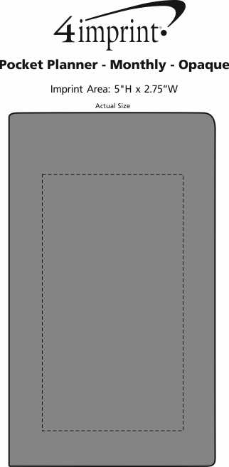 Imprint Area of Pocket Planner - Monthly - Opaque