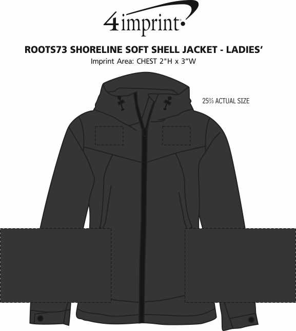 Imprint Area of Roots73 Shoreline Soft Shell Jacket - Ladies'