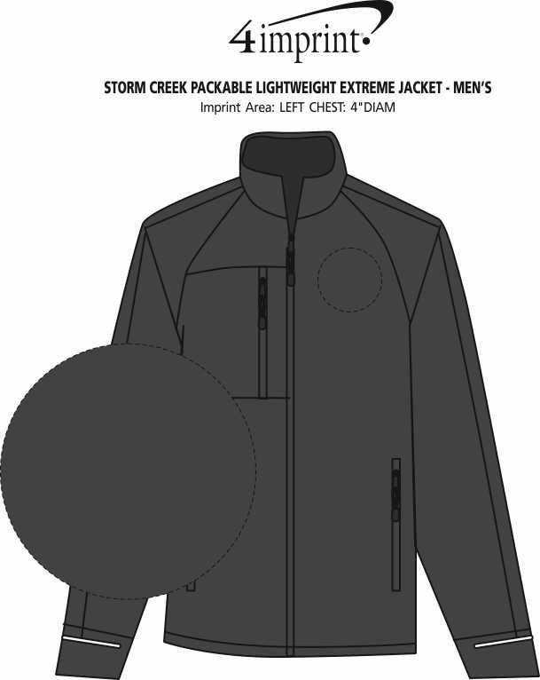 Imprint Area of Storm Creek Packable Lightweight Extreme Jacket - Men's