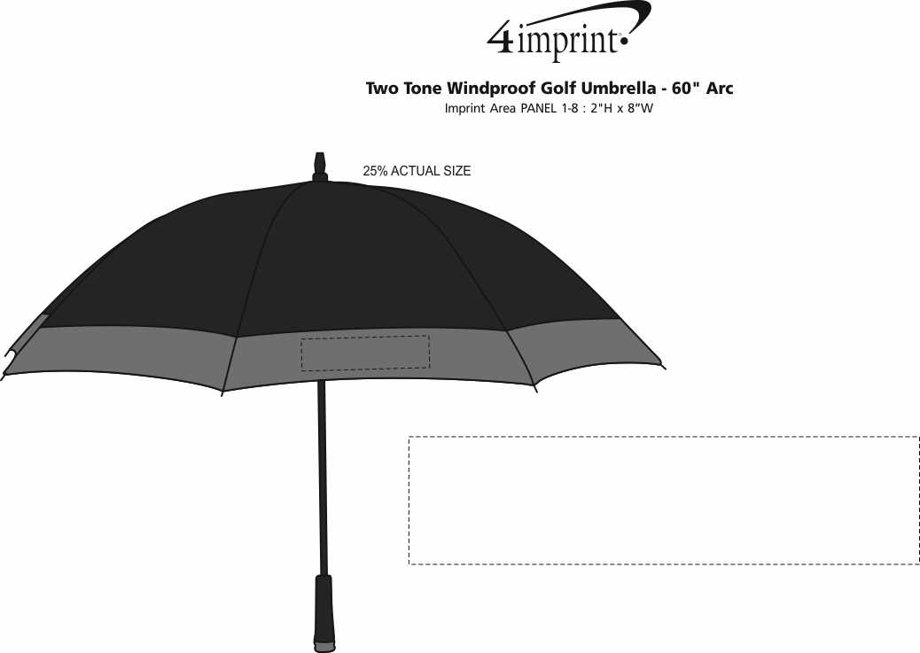 "Imprint Area of Two Tone Windproof Golf Umbrella - 60"" Arc"