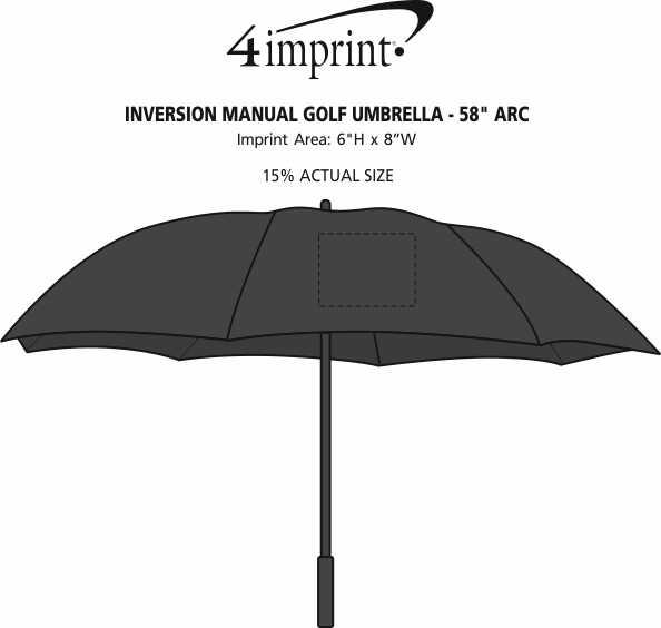 "Imprint Area of Inversion Manual Golf Umbrella - 58"" Arc"