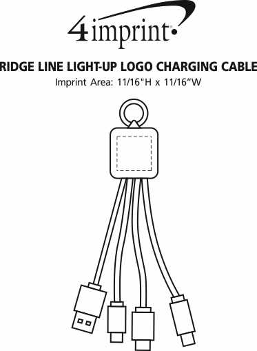 Imprint Area of Ridge Line Light-Up Logo Charging Cable