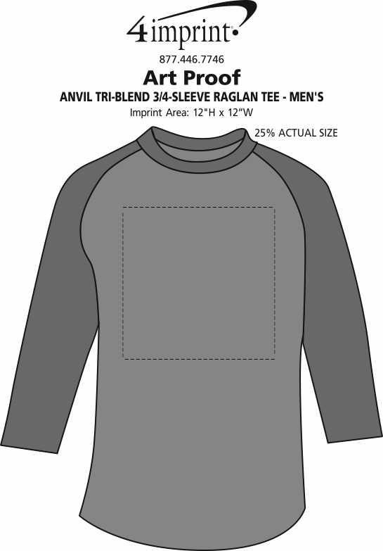 Imprint Area of Anvil Tri-Blend 3/4-Sleeve Raglan Tee - Men's