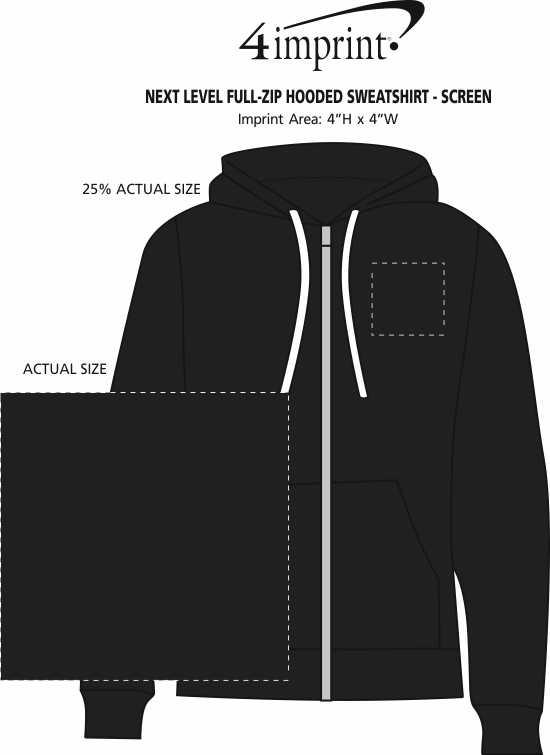 Imprint Area of Next Level Full-Zip Hooded Sweatshirt - Screen