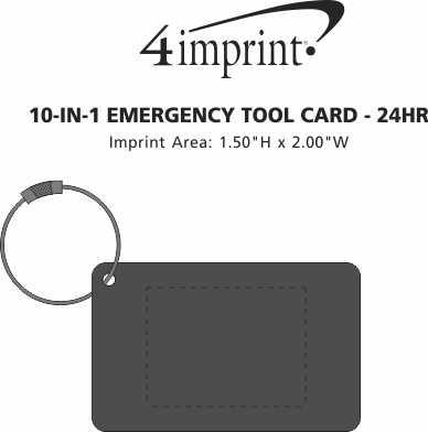 Imprint Area of 10-in-1 Emergency Tool Card - 24 hr