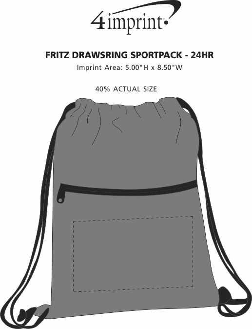 Imprint Area of Fritz Drawstring Sportpack - 24 hr