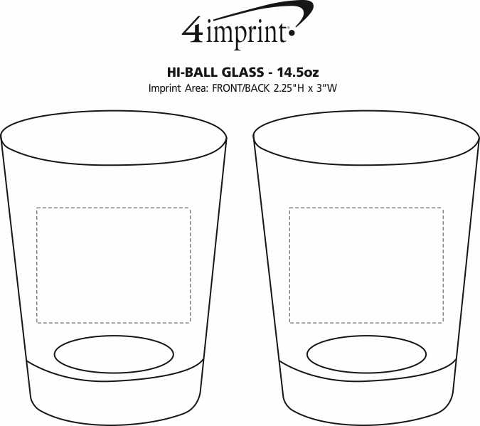 Imprint Area of Hi-Ball Glass - 14.5 oz.