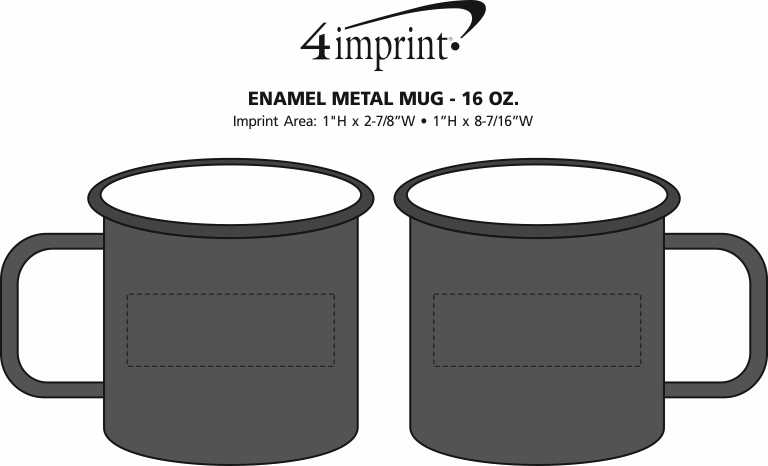 Imprint Area of Enamel Metal Mug - 16 oz.