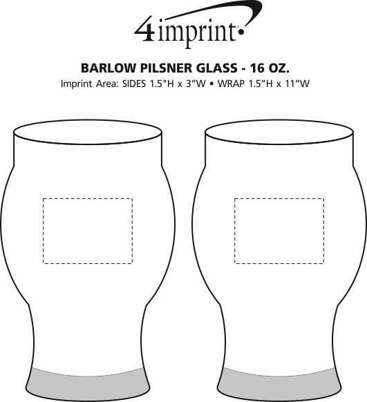Imprint Area of Barlow Pilsner Glass - 16 oz.